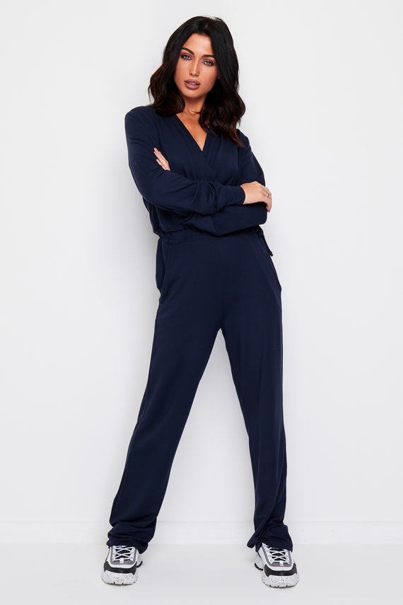 CROSSOVER SOFT TOUCH NAVY JUMPSUIT