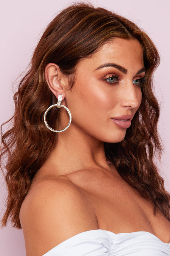 THIN GOLD DIAMANTE DROP HOOP EARINGS