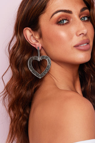 SILVER AND GUN METAL LARGE HEART EARINGS