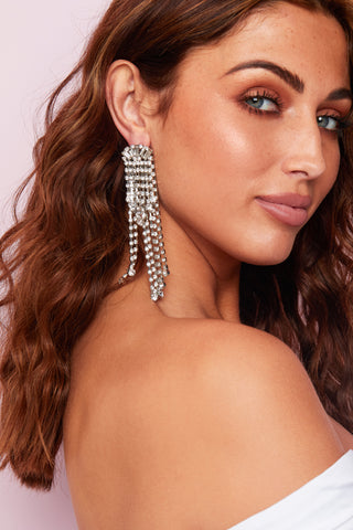 DIAMANTE LONG DROP EARINGS