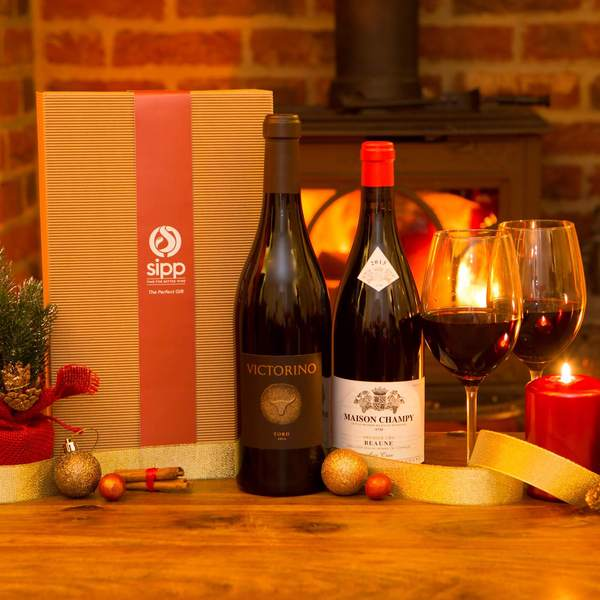 Premium Red Wine Duo Gift-wrapped Box France vs Spain Special - sipp