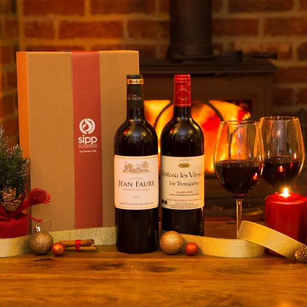 Premium Red Wine Duo Gift-wrapped Box Bordeaux Special - sipp