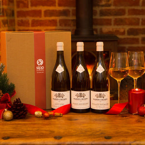 Premium White Wine Triple Gift-wrapped Box Burgundy Special - sipp