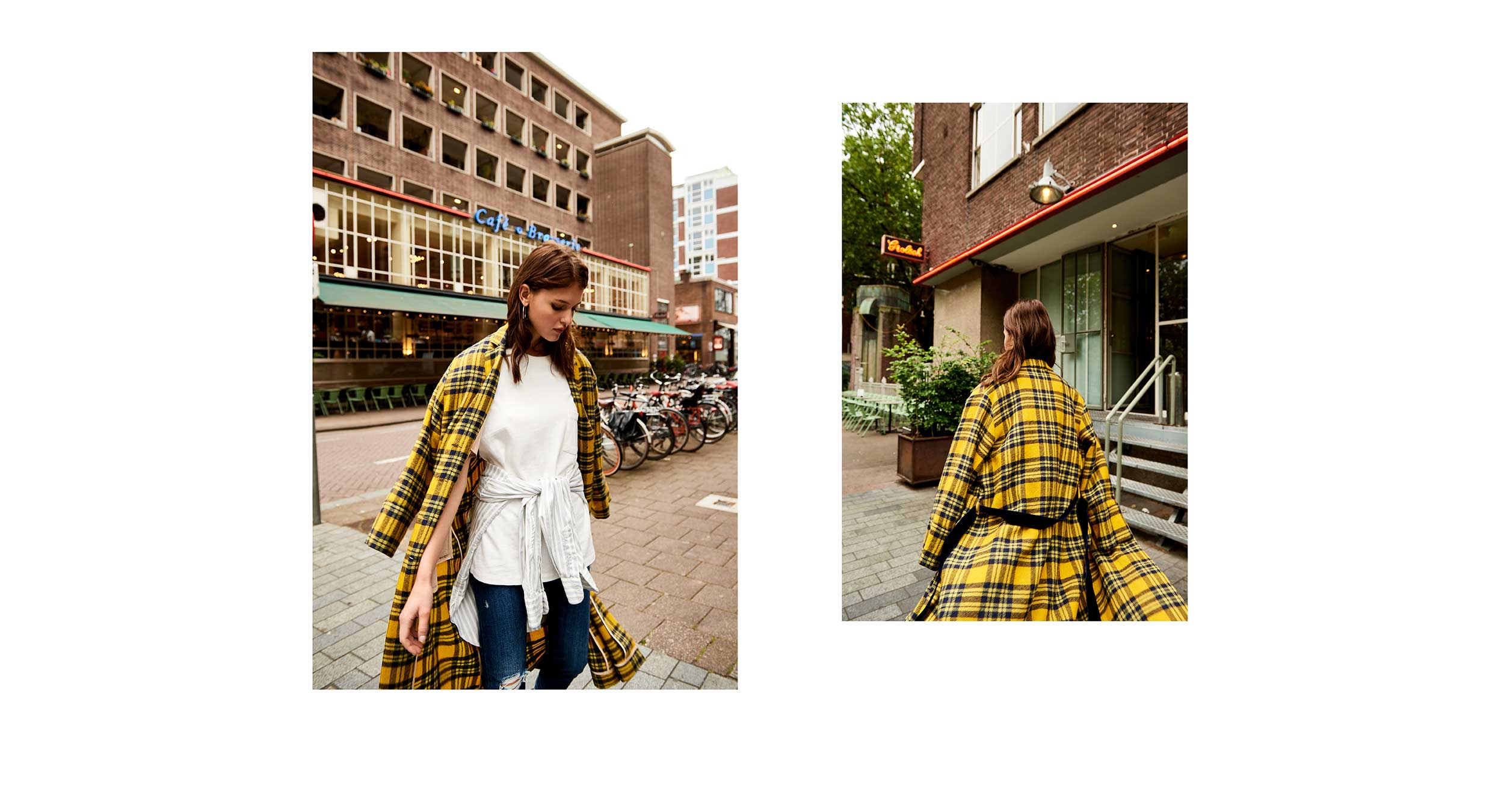Bellerose Fall Winter'18 Office Hours yellow checked trench coat