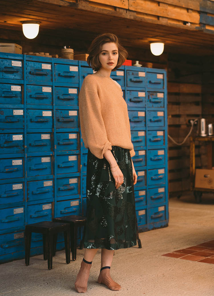 Women SS'19 Stopover beige knit sweater and green skirt Bellerose
