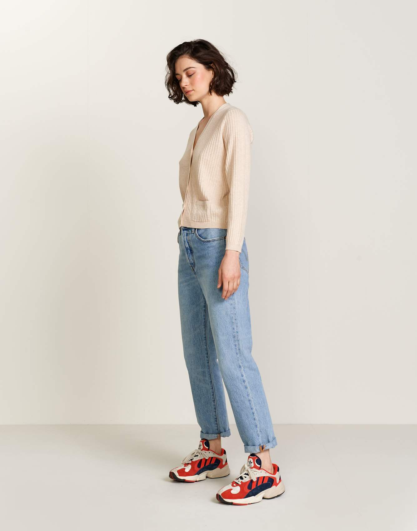 Bellerose white striped cotton and wool knit top for women
