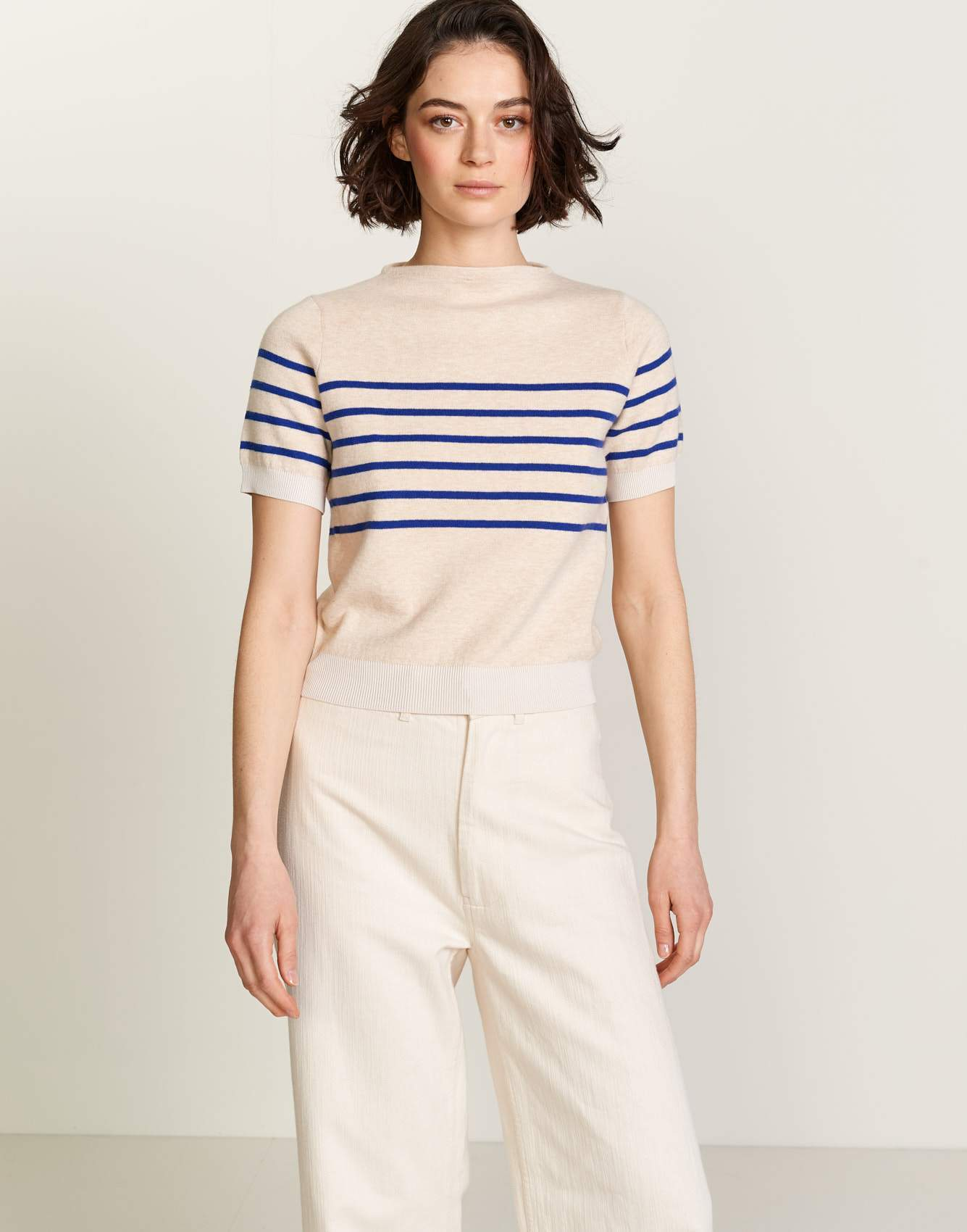 Bellerose white and blue striped knit sweater for women