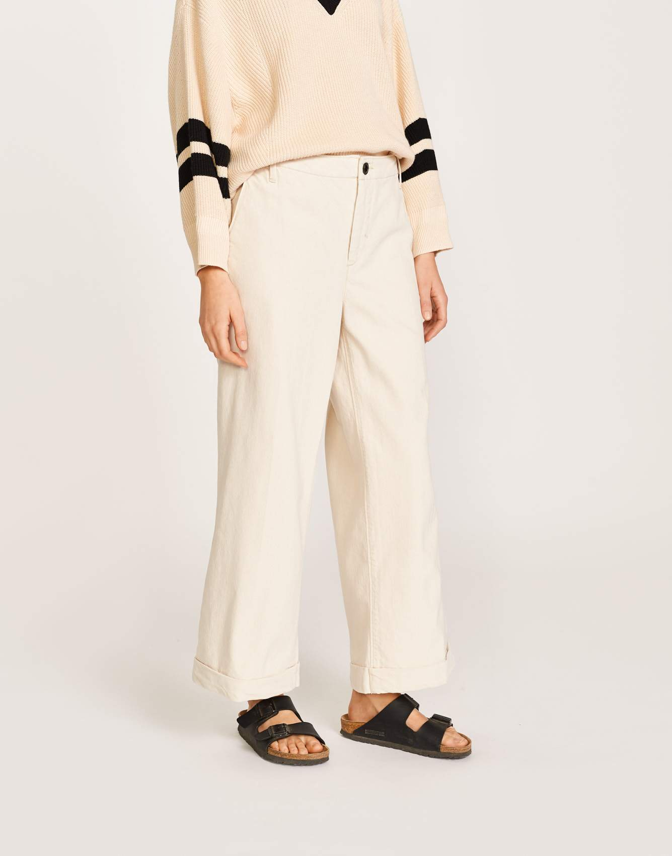Bellerose white cotton chino pants for women