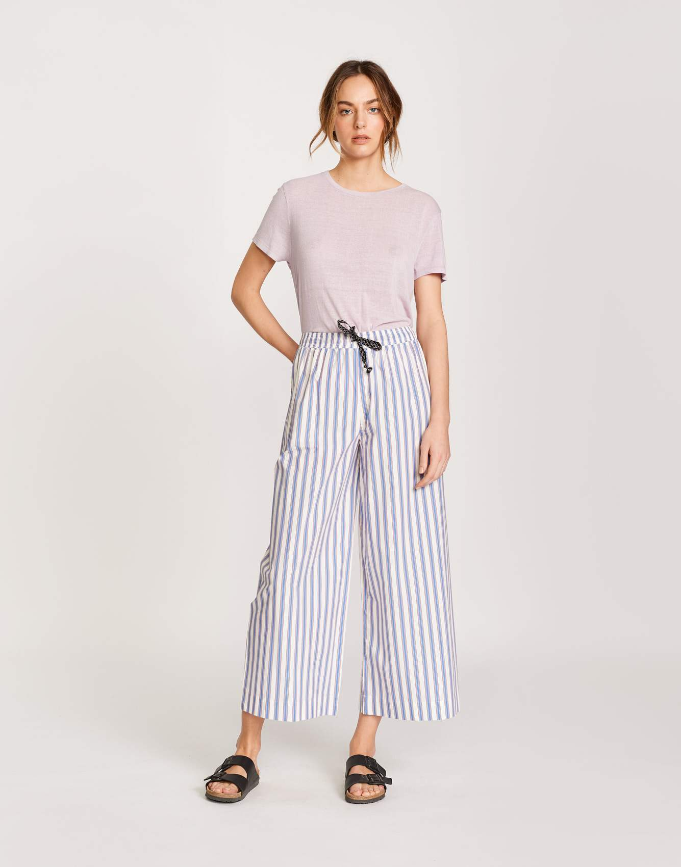 Bellerose loose striped cotton pants for women
