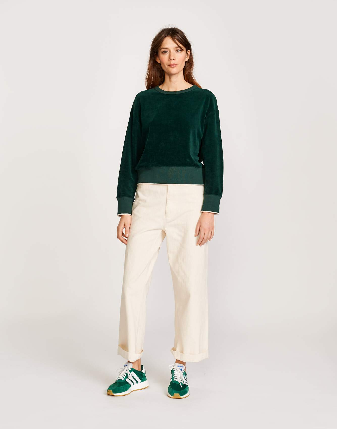 Bellerose green velvet sweatshirt for women