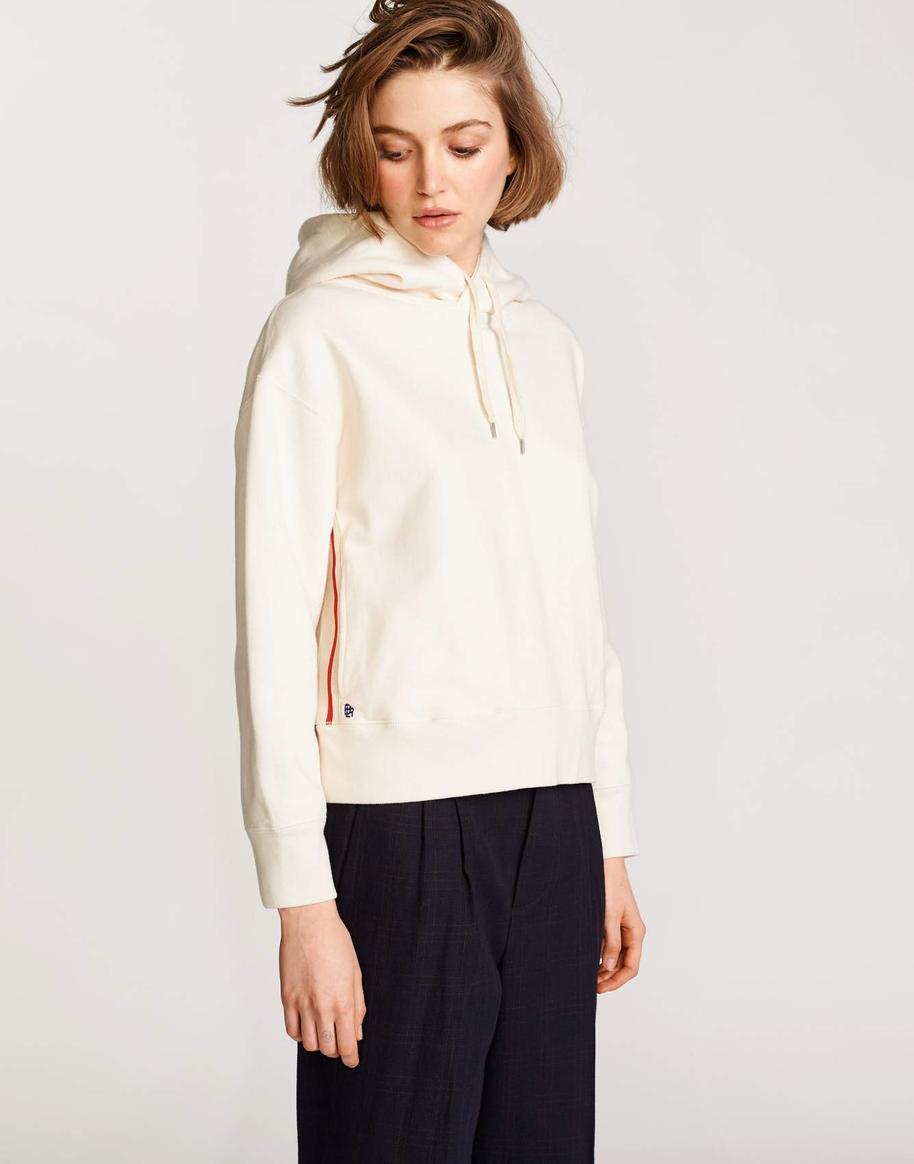 Bellerose white cotton hoodie for women