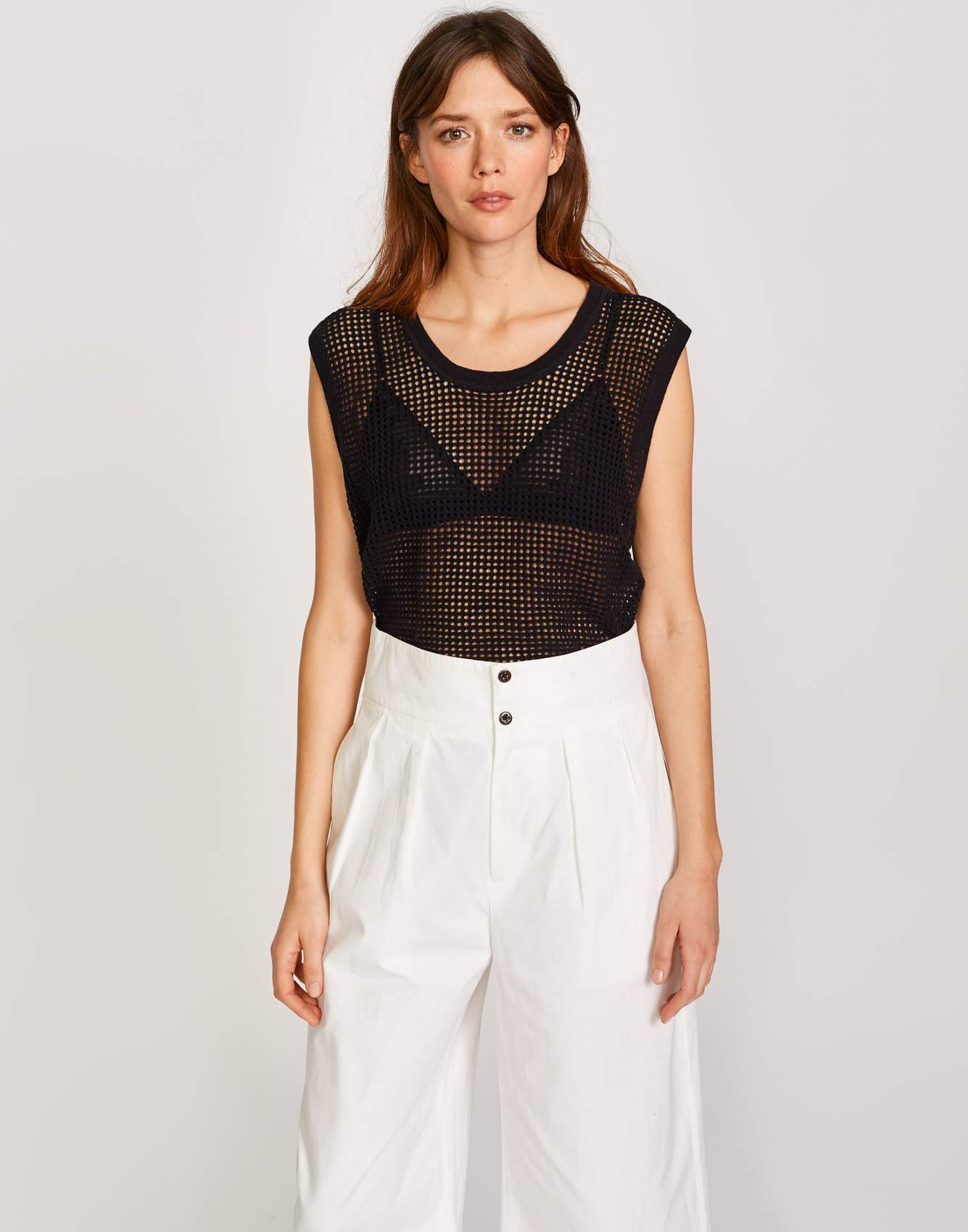 Bellerose black mesh knitwear for women