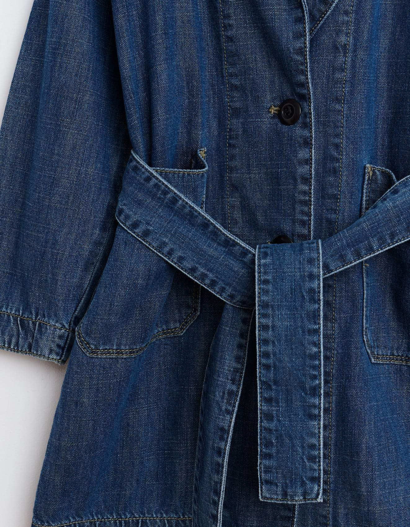 Bellerose dark blue denim, bathrobe-style coat for girls