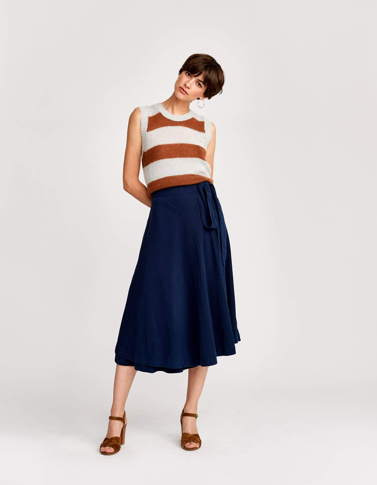 Bellerose blue adjustable wrap skirt for women