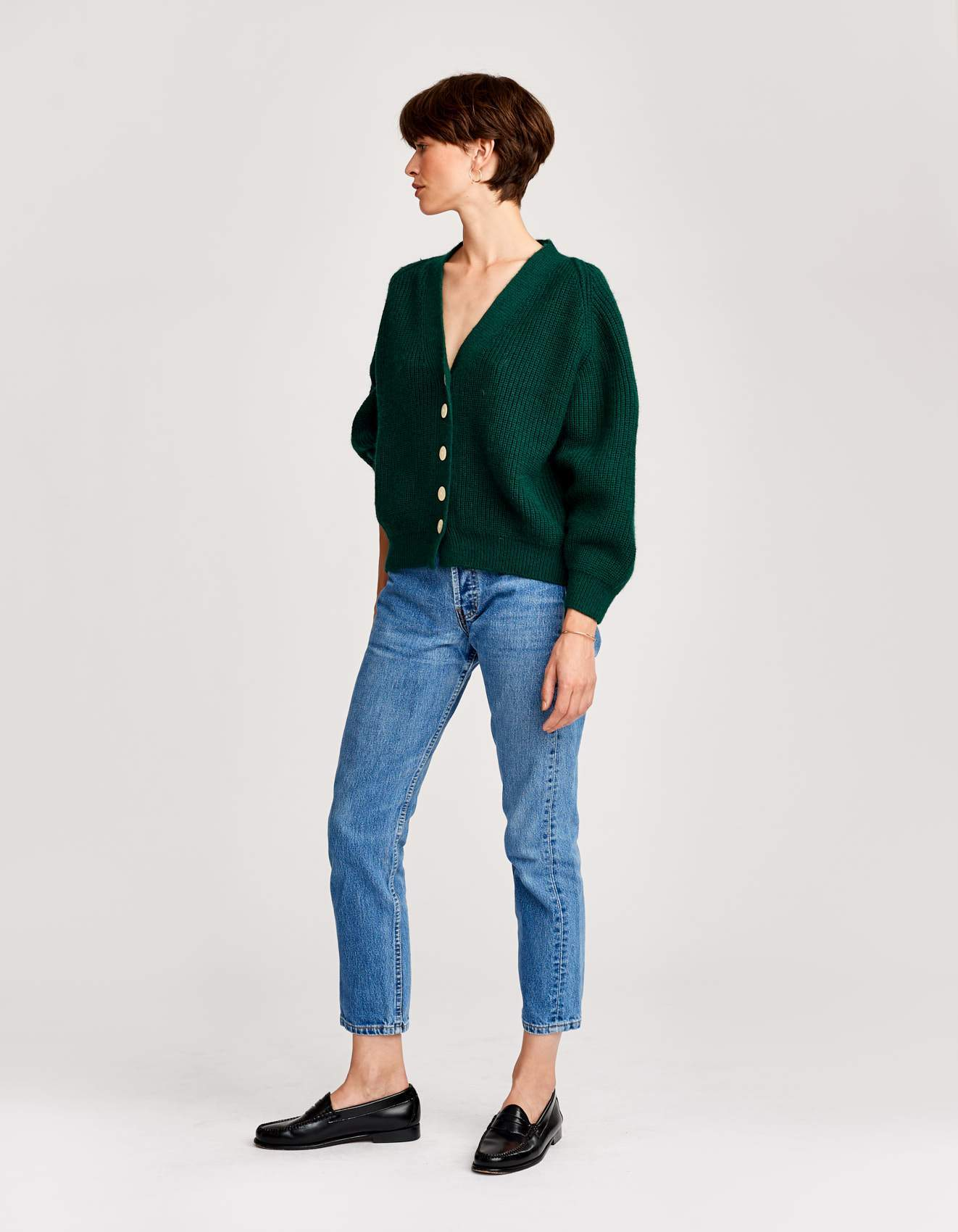 Bellerose green oversized knit cardigan for women