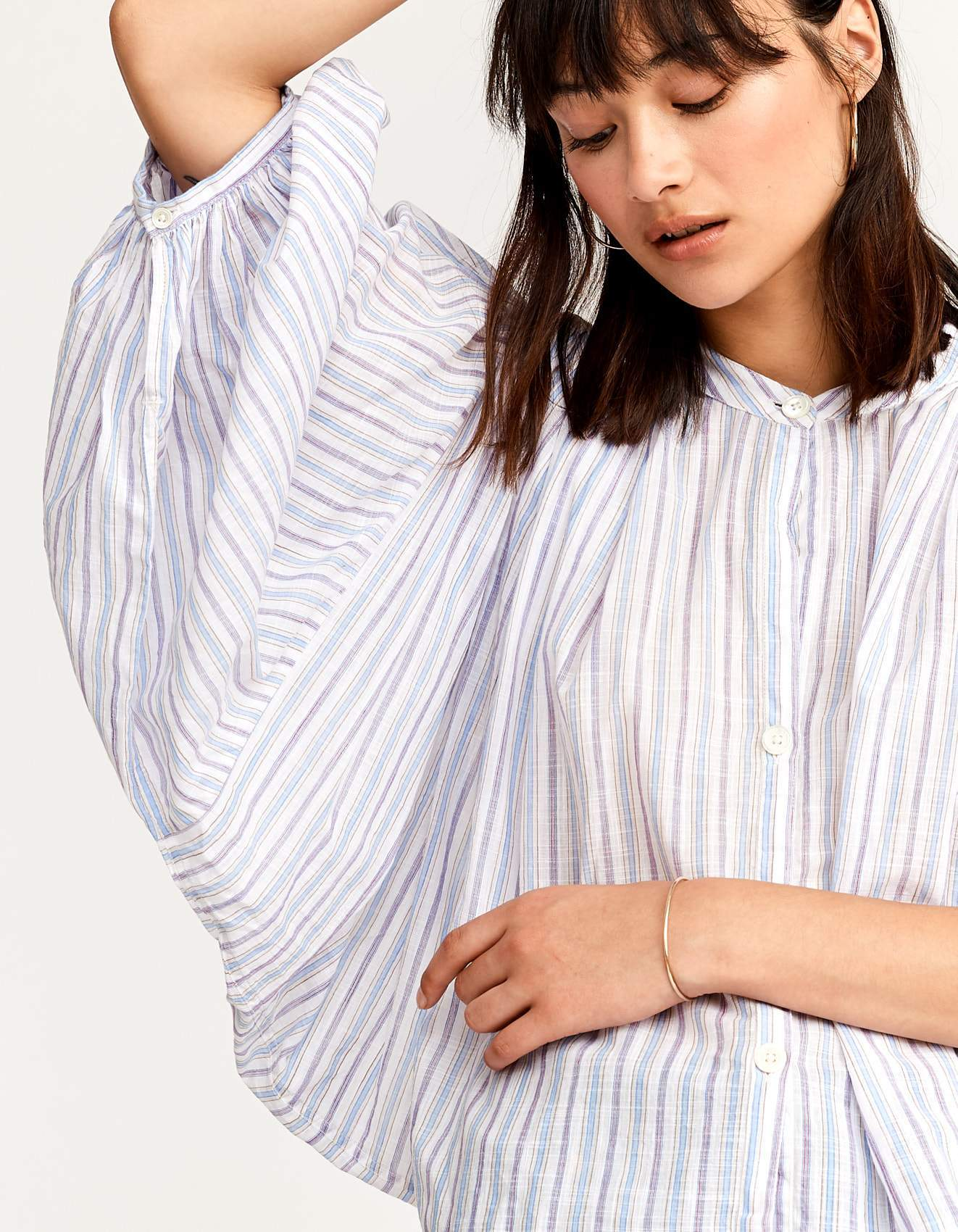 Bellerose striped cotton veil blouse for women