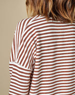 Bellerose brown and white strip sweater for women