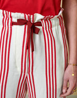 Bellerose red and white strip pants for women
