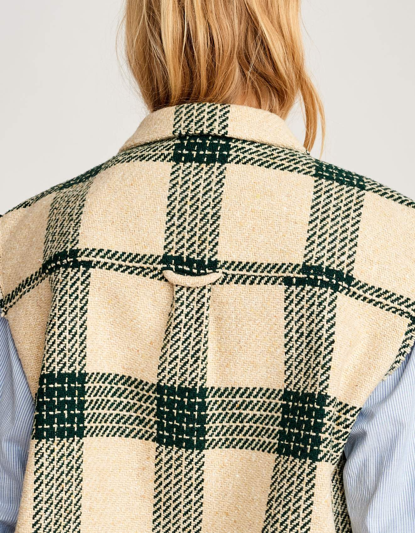 Bellerose wool blend oversized check gilet for women