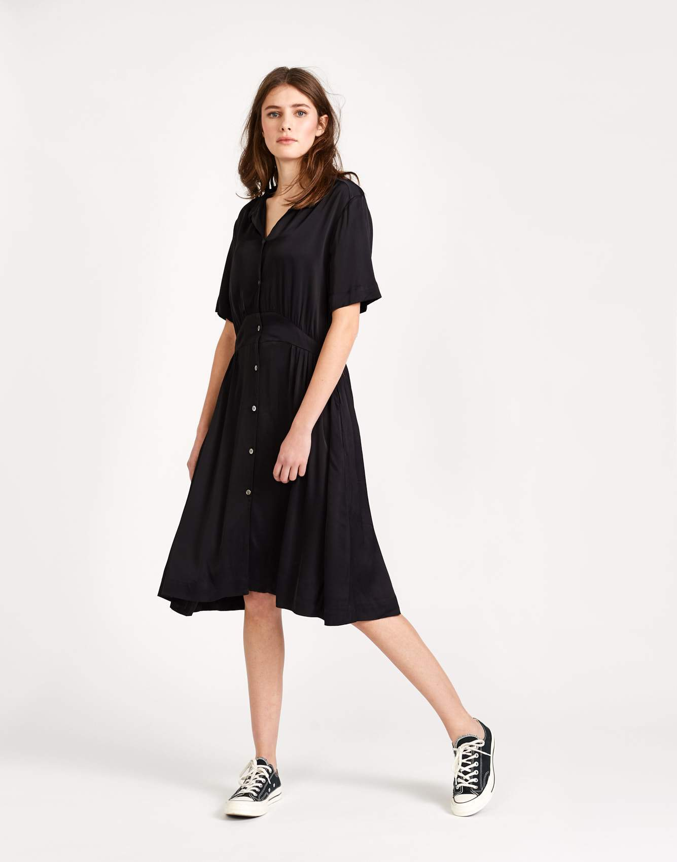 Bellerose black dress with shirt collar for women