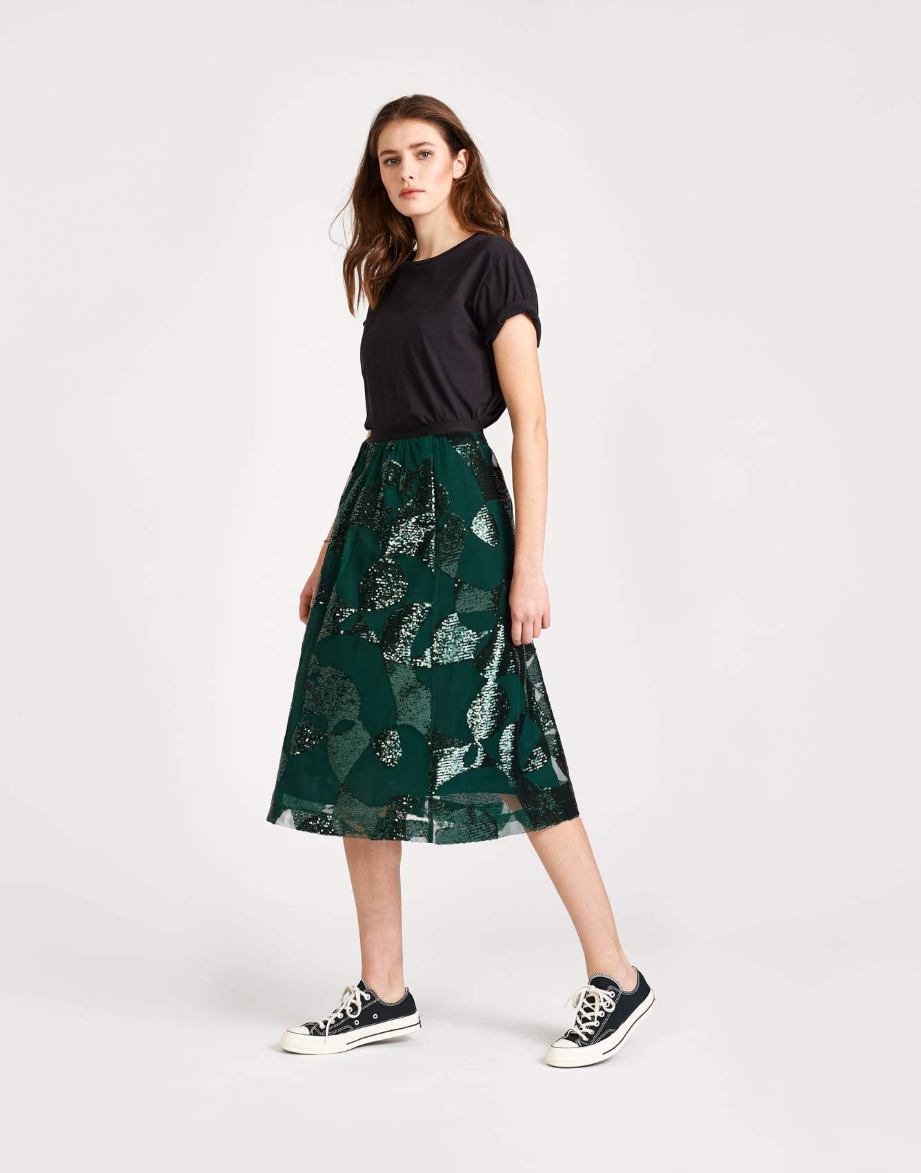 Bellerose green viscose flared print skirt for women