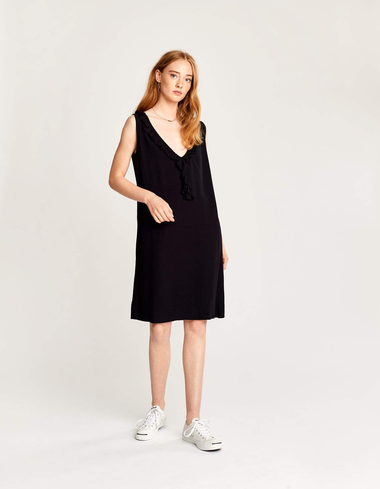 Bellerose blue viscoe v neck dress for women