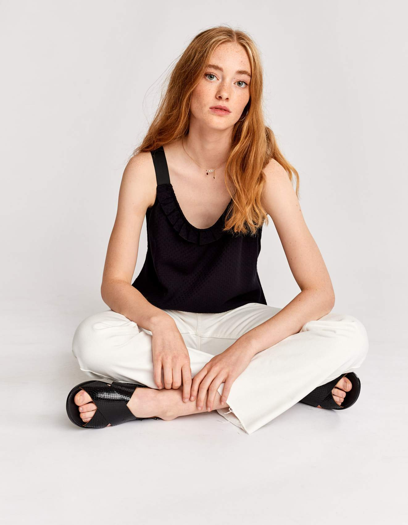 Bellerose black viscose tank top for women