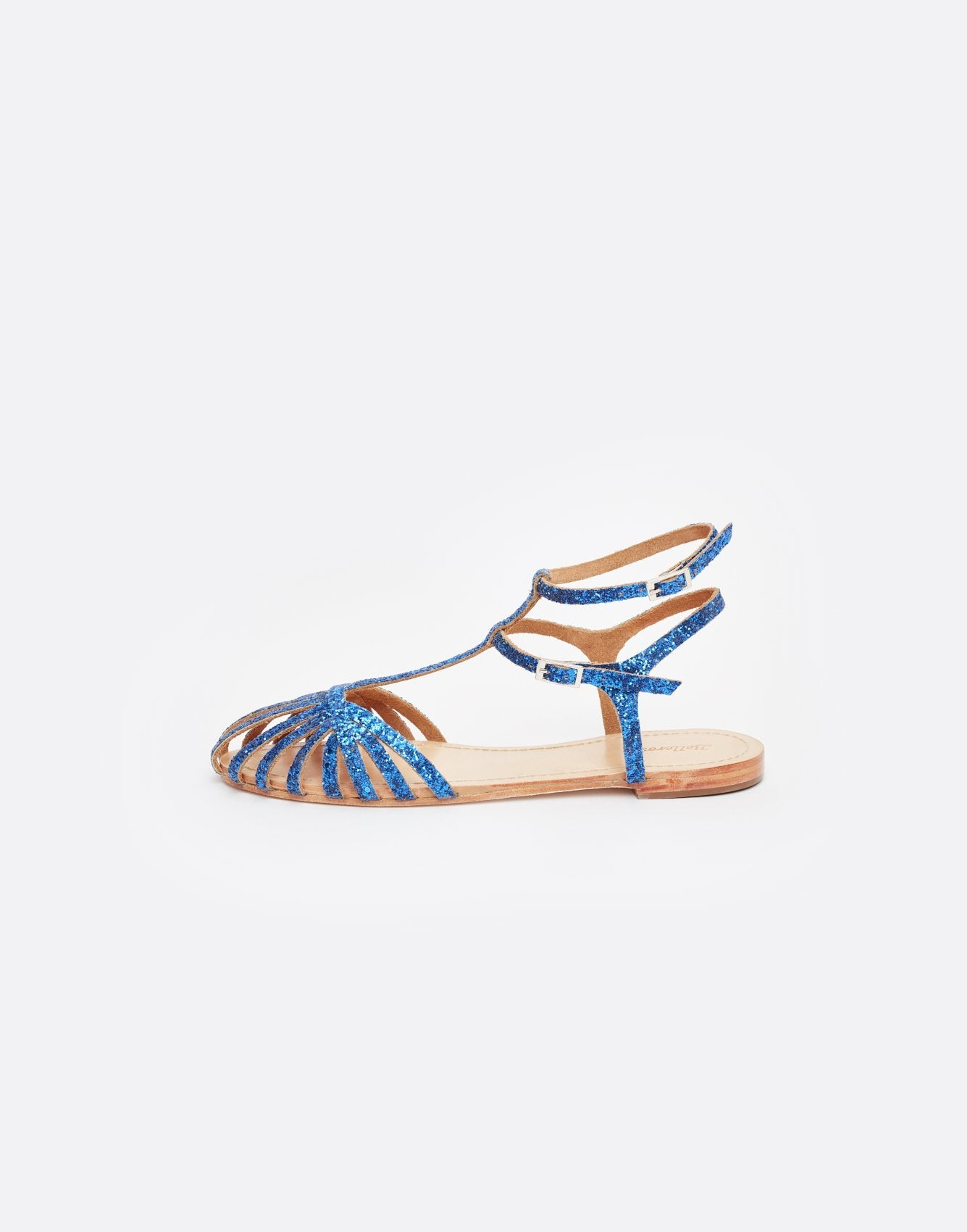 Bellerose blue glitter cow leather sandals