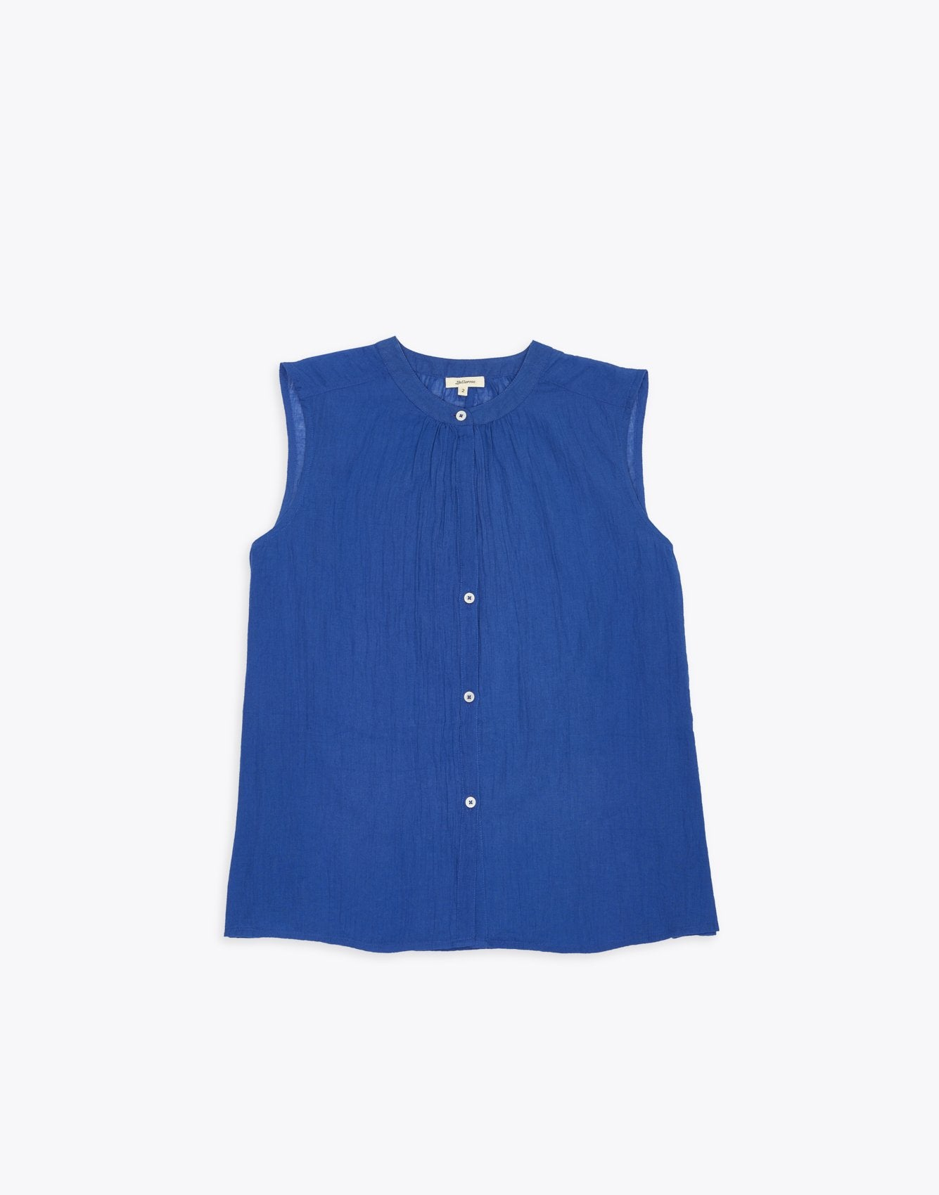 Bellerose blue cotton sleeveless blouse for women