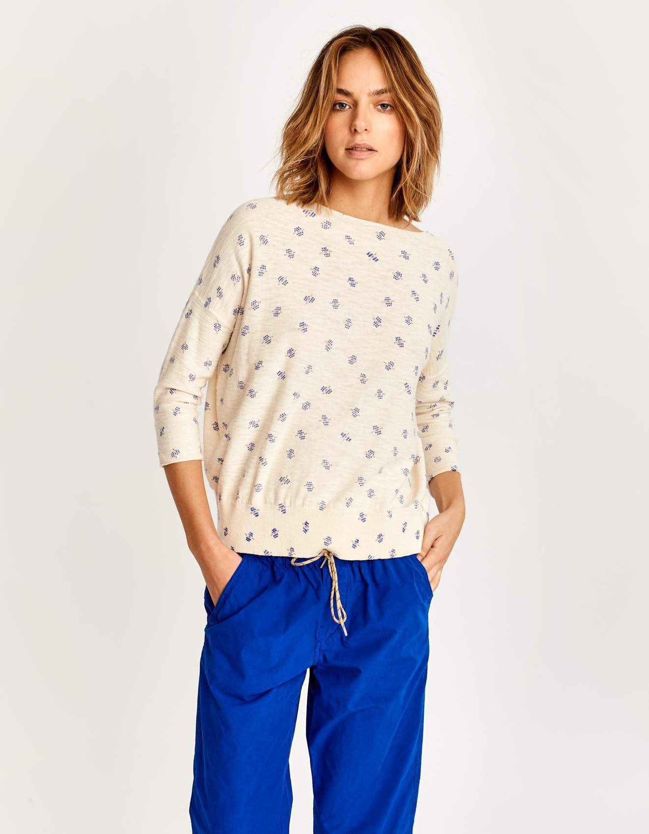 Bellerose white slub cotton knitwear for women