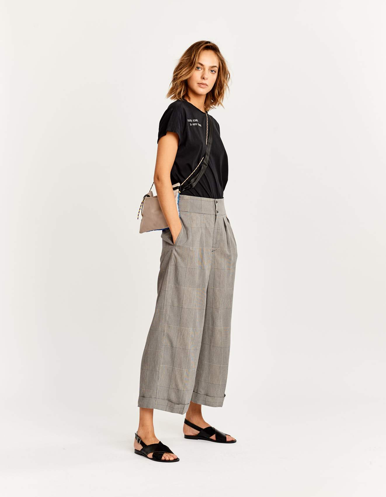 Bellerose wide leg peated checked pants for women