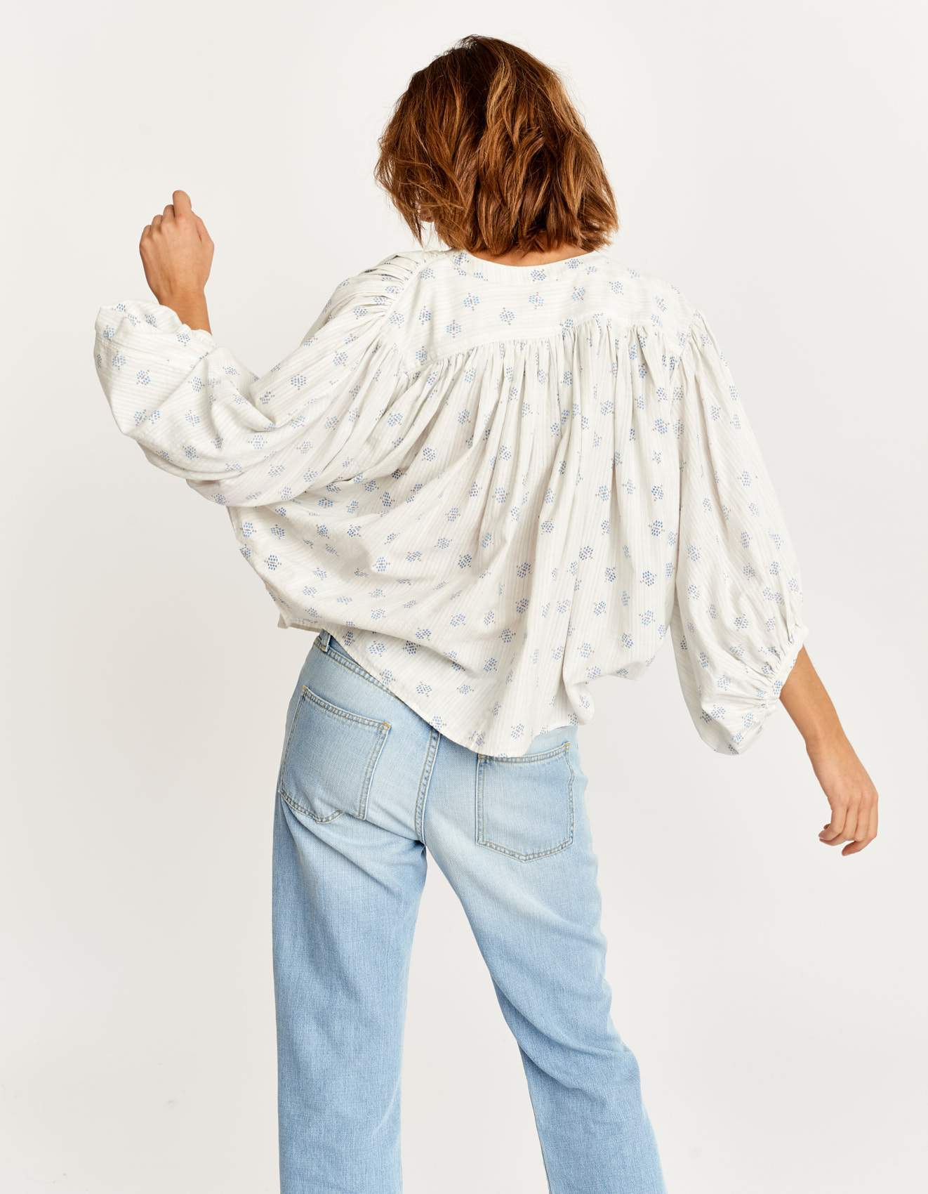 Bellerose white cotton veil blouse for women