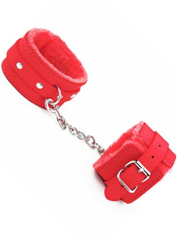 baby berlin fur lined cuffs red
