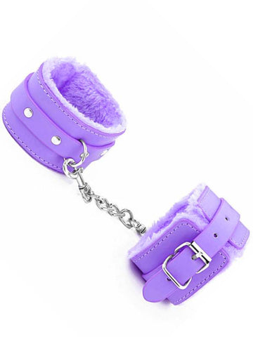 Image of berlin baby fur lined cuffs purple