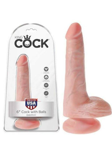 Image of king cock 6 inch with balls product and packaging