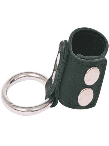 Image of love in leather stainless ring & leather stretcher strap  with press studs