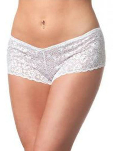 Image of low rise lace booty short white front