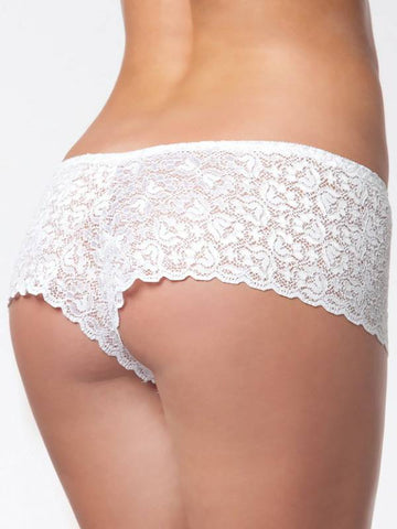 Image of low rise lace booty short white back