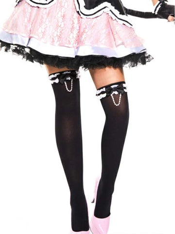 music legs bow and pearl chain thigh hi stockings