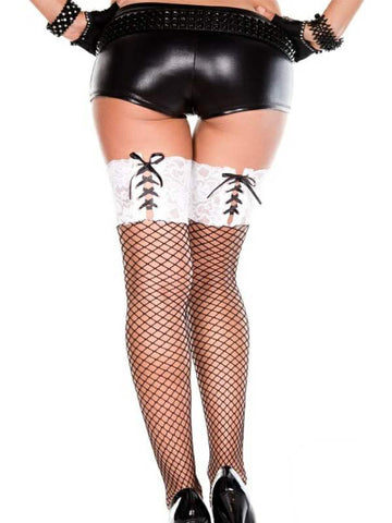 music legs lace top thigh hi with ribbon lacing stockings