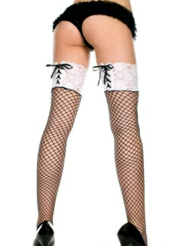 Image of music legs lace top thigh hi with ribbon lacing diamond net pattern