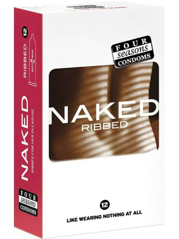 naked ribbed condoms 12 pack packaging