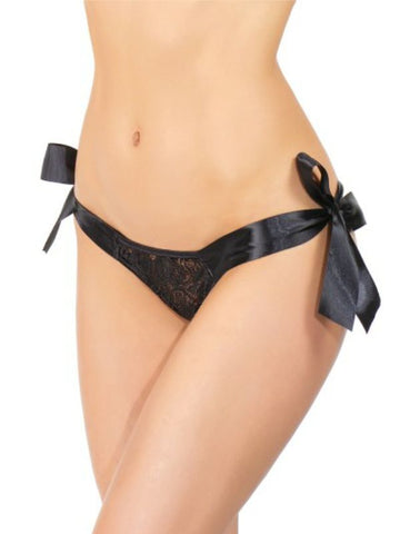 Image of shauna tie up panty o/s black front