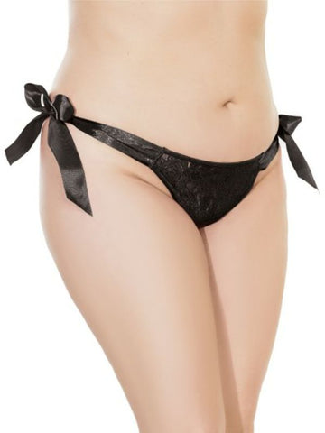 Image of shauna tie up panty o/s x/l black front