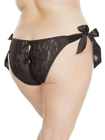 Image of shauna tie up panty o/s x/l black back