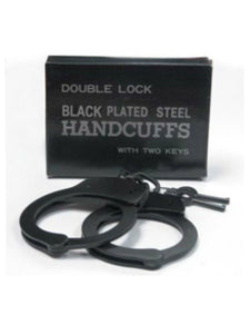 Double lock steel handcuffs black -  - Passionzone Adult Store - 2