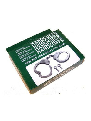 Nickel plated double lock steel handcuffs
