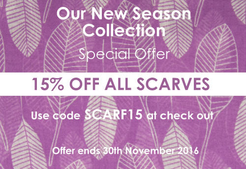 15% of all Fatlip Shop Scarves until 30th November 2016 - use code SCARF15