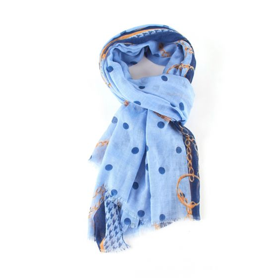 Blue, Chains & Dots Print Scarf