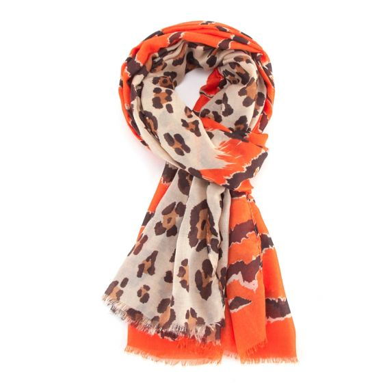 Orange Zebra, Leopard Print Scarf